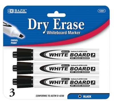 Bazic Black Dry Erase Markers