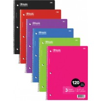 Bazic 120Ct Wide Rule 3 Subject Notebooks