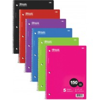 Bazic 150Ct Wide Rule 5 Subject Notebooks