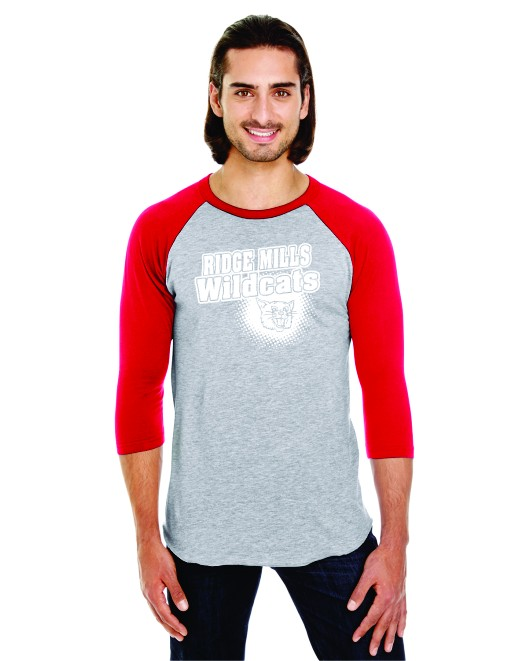 Ridge Mills Wildcats 3/4 Sleeve Baseball Tee