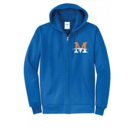 "Port & Company® - Core Fleece Full-Zip Hooded Sweatshirt - ""M"" Logo"