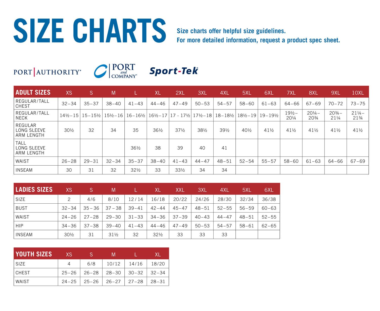 Size Chart Owen D. Young School Webstore