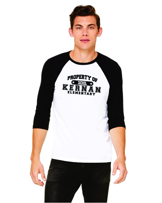 Property Of Kernan Elem. 3/4 Sleeve Baseball Tee