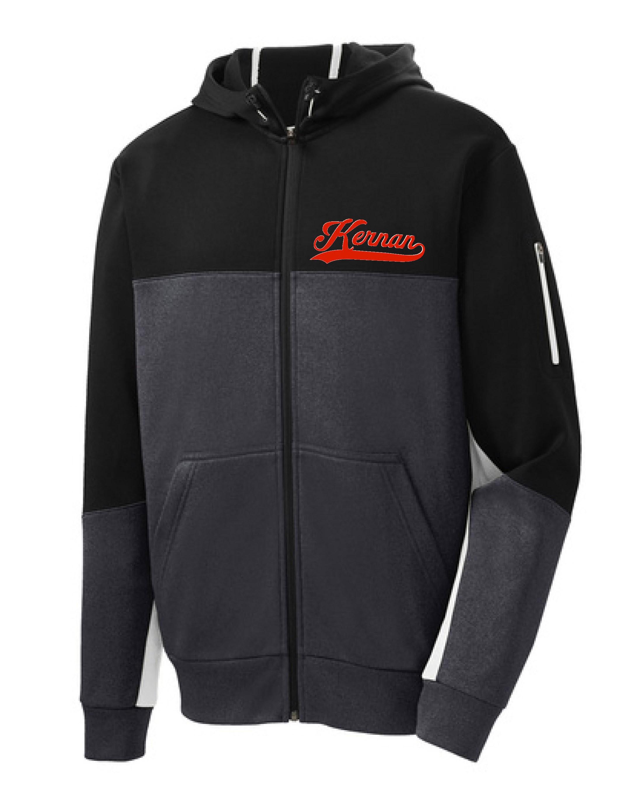 Kernan Mens Sport-Tek Colorblock Full Zip Hooded Jacket