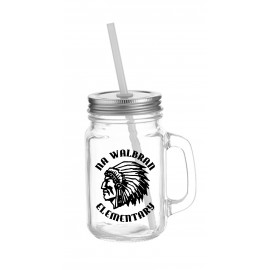 Glass Mason Jar with Lid and Straw