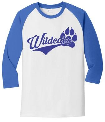 Port & Company® Core Blend 3/4-Sleeve Raglan Tee - Wildcats Logo
