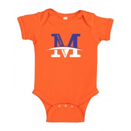 """Rabbit Skins Infant Baby Rib Bodysuit - """"M"""" Logo"""